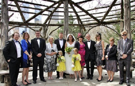 Rachel Dean Central Park Wedding group inside Cop Cot